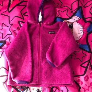 Patagonia baby purple sweater with hoodie